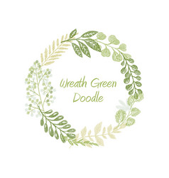 green doodle circle wreath vector image vector image