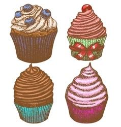 Hand-drawn cupcake set vector