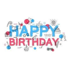Happy birthday concept with icons and vector