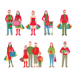 happy family in santa hats isolated white vector image