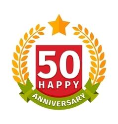 Happy fiftieth birthday badge icon vector