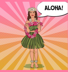 Hawaiian girl with flower necklace pop art vector