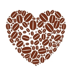 Heart shape with coffee beans vector