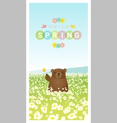 Hello spring landscape background with bear 2 vector image
