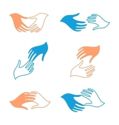 Isolated abstract human hands logo set vector