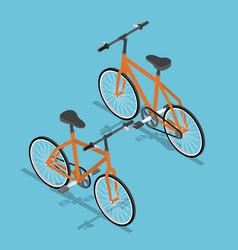 Isometric orange bicycle ecologically vector