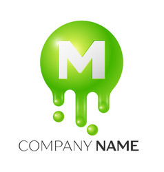 M letter splash green dots and bubbles letter vector