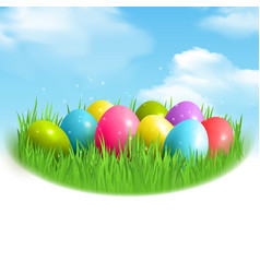 Magic eggs outdoor composition vector