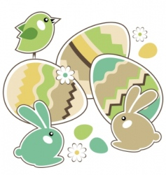 seamless Easter border with rabbits vector image vector image