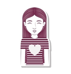 Silhouette teenager pulling a kiss vector