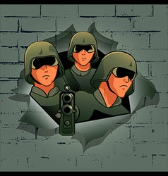 soldiers attack vector image