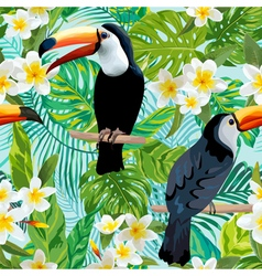 Tropical flowers and birds background toucan bird vector