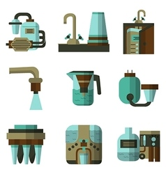 Water filters flat color icons vector