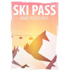 winter sport ski pass mountain landscape vector image