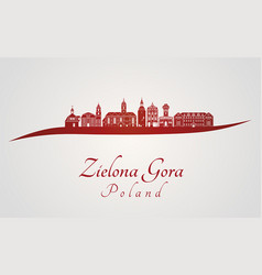 Zielona gora skyline in red vector
