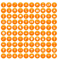 100 military resources icons set orange vector