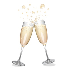 Champagne flutes clinking vector