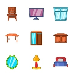 Type of furniture icons set cartoon style vector