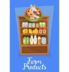 Farm products banner with supermarket shelves vector
