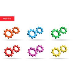 3d colorful gears set market vector image