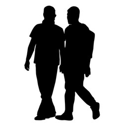 Silhouettes of gay men holding hands vector