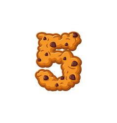 Number 5 cookies font oatmeal biscuit alphabet vector