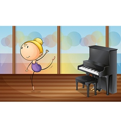 A woman dancing near the piano vector image