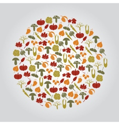 Various autumn icons in circle eps10 vector
