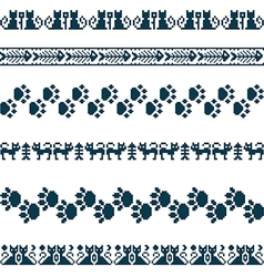 Knitted seamless pattern animals cats borders set vector