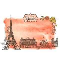 Autumn ParisLandmarksleaveswatercolor splash vector image