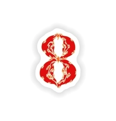 Sticker fiery font red number 8 on white vector