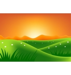 Green hills at sunset vector