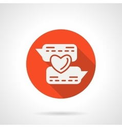 Online flirting round red icon vector