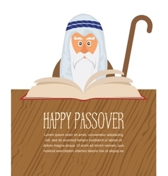 Moses reading passover haggadah vector