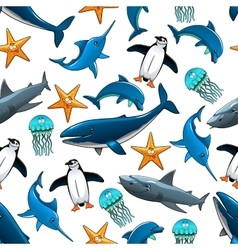 Wildlife seamless pattern with sea animals vector