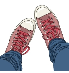 Legs with jeans in gumshoes vector