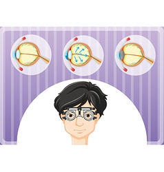 Man with eyeglasses and eyes problem vector
