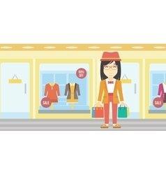 Happy woman with bags vector
