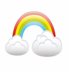 Color Rainbow With Clouds vector image