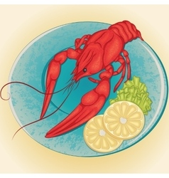 Crayfish on a plate with lemon and green salad vector image