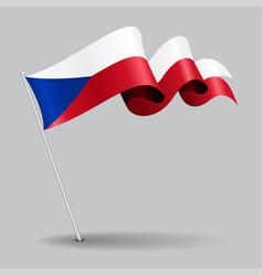 Czech pin wavy flag vector