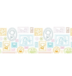 Family framed pictures horizontal seamless pattern vector image