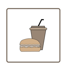 fast food and drink icon vector image vector image