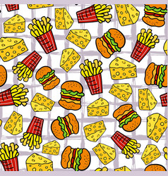Fast food seamless pattern fries potato cheese vector