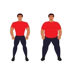 Fat vs slim man healthy sport athletic body vector