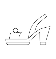 Female red opened shoe icon outline style vector image