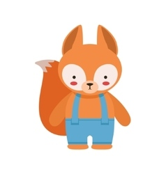 Fox in blue pants with suspenders cute toy baby vector