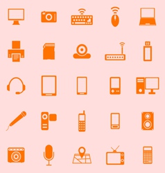 Gadget color icons on orange background vector