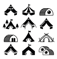 Glamping luxurious camping tents and bambu houses vector