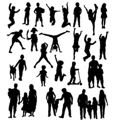 Happy kid silhouettes vector